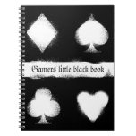Spiral Book with Grunge Style Card Suit Spiral Notebook