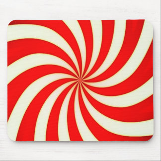 Spiral Candy Cane Stripes Pattern Mouse Pad