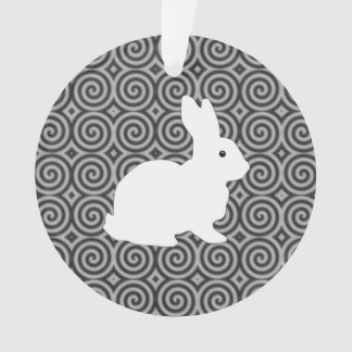 Spiral Circles Black Color With White Bunny Ornament