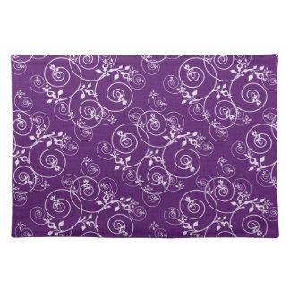 Spiral Design on Purple Fabric Place Mat