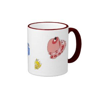 Spiral doodle creatures ringer coffee mug