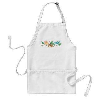 Spiral Floral Embroidery Design Adult Apron