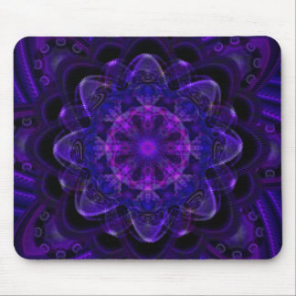 Spiral Flower Fractal Dark Purple UV Pixel Mouse Pad