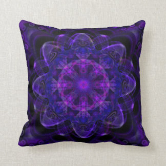 Spiral Flower Fractal Dark Purple UV Pixel Throw Pillow