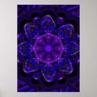 Spiral Flower Fractal Dark Purple UV Pixel Posters
