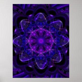 Spiral Flower Fractal Dark Purple UV Pixel Poster