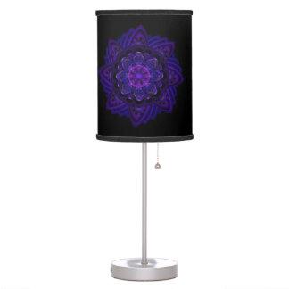 Spiral Flower Fractal Dark Purple UV Pixel Table Lamp