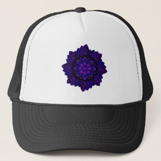 Spiral Flower Fractal Dark Purple UV Pixel Trucker Hat