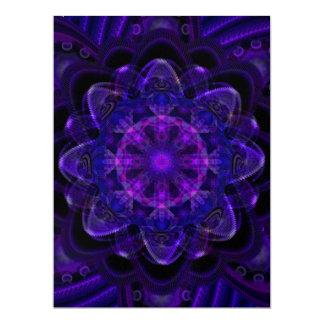 Spiral Flower Fractal Dark Purple UV Scrapboking Invitation