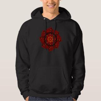 Spiral Flower Fractal Fire Red Pixel Hoodie