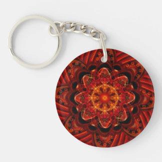 Spiral Flower Fractal Fire Red Pixel Keychain