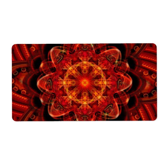 Spiral Flower Fractal Fire Red Pixel Label