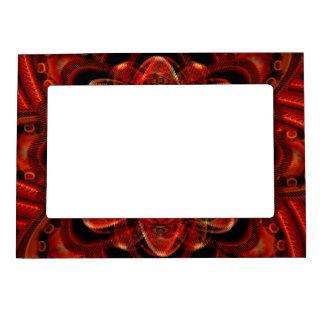 Spiral Flower Fractal Fire Red Pixel Magnetic Picture Frame