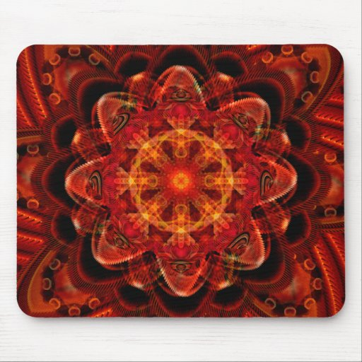 Spiral Flower Fractal Fire Red Pixel Mouse Pads