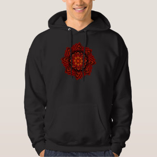 Spiral Flower Fractal Fire Red Pixel Pullover