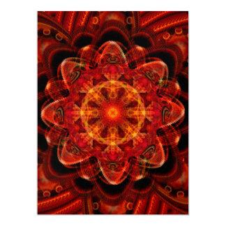 Spiral Flower Fractal Fire Red Pixel Scrapbooking Invitation
