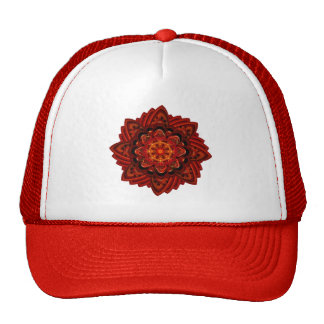 Spiral Flower Fractal Fire Red Pixel Trucker Hat