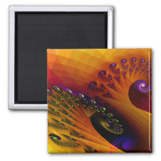 Spiral Footprints 2 Inch Square Magnet