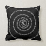 Spiral for Pi Digits on Black Throw Pillow