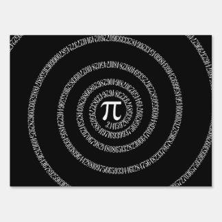 Spiral for Pi Digits on Black Yard Sign