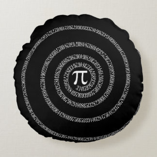 Spiral for Pi Numbers on Black Round Pillow