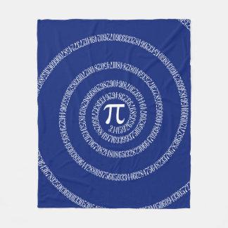 Spiral for Pi Numbers on Navy Blue Decor Fleece Blanket