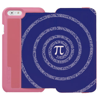 Spiral for Pi Numbers on Navy Blue Decor iPhone 6/6s Wallet Case