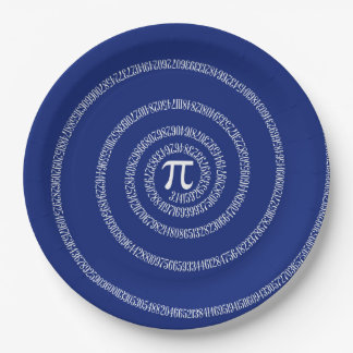 Spiral for Pi Numbers on Navy Blue Decor Paper Plate