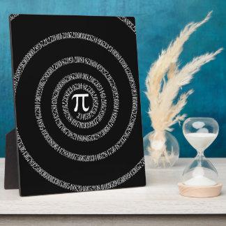 Spiral for Pi on Black Decor Plaque