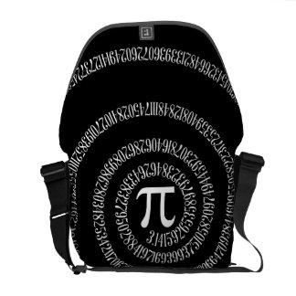 Spiral for Pi on Black Courier Bag