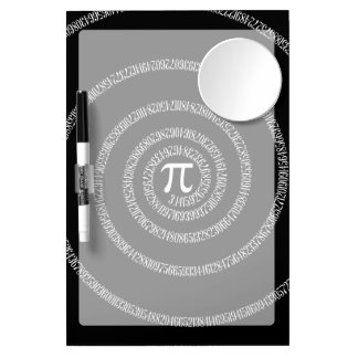 Spiral for Pi on Black Style Dry Erase Board With Mirror