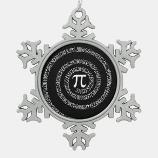 Spiral for Pi on Black Style Snowflake Pewter Christmas Ornament