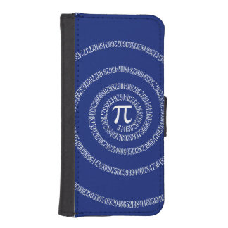Spiral for Pi on Navy Blue Decor iPhone 5 Wallet Cases