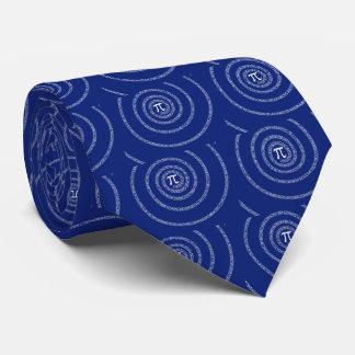 Spiral for Pi on Navy Blue Neck Tie