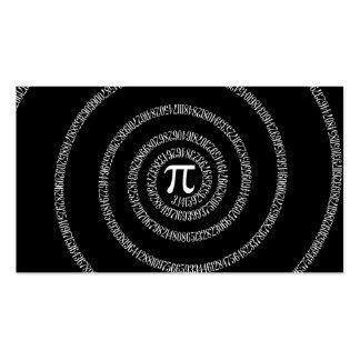 Spiral for Pi on Solid Black Business Card