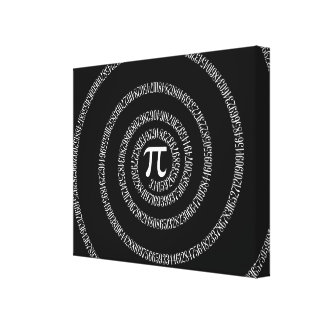 Spiral for Pi on Solid Black Canvas Print