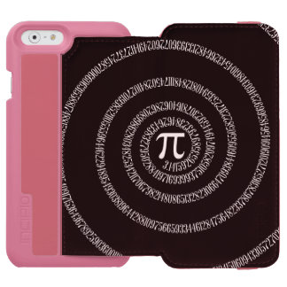 Spiral for Pi on Solid Black Decor iPhone 6/6s Wallet Case