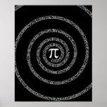 Spiral for Pi on Solid Black Poster