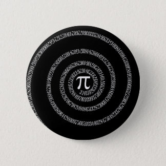 Spiral for Pi Typography on Black Pinback Button