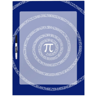 Spiral for Pi Typography on Blue Dry-Erase Board