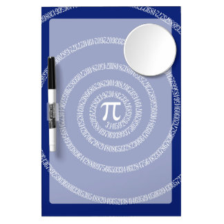 Spiral for Pi Typography on Blue Dry Erase Board With Mirror