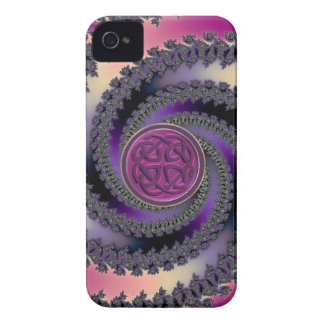 Spiral Fractal with Burgundy Celtic Knot iPhone 4 Case-Mate iPhone 4 Case
