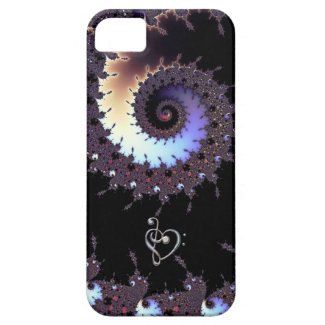 Spiral Fractal with Music Clef Heart iPhone Case iPhone 5 Case