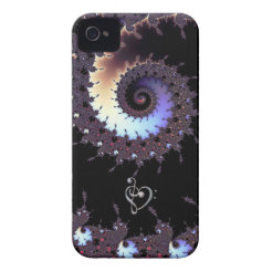 Spiral Fractal with Music Clef Heart iPhone Case iPhone 4 Case