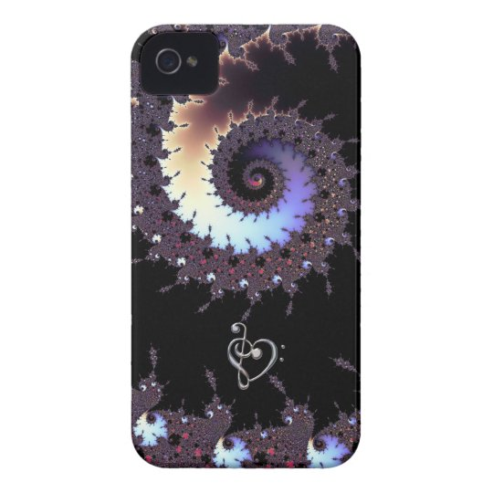 Spiral Fractal with Music Clef Heart iPhone Case
