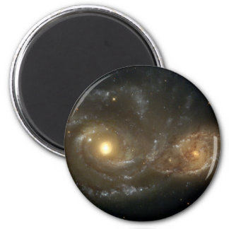 Spiral Galaxies NGC 2207 and IC 2163 2 Inch Round Magnet