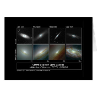 Spiral Galaxy Bulges Hubble Telescope Photo Card