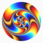 Spiral Galaxy - Fractal Art Classic Round Sticker