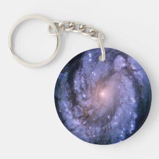 Spiral Galaxy M100 Hubble Double-Sided Round Acrylic Keychain