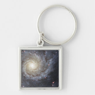 Spiral galaxy M74 Silver-Colored Square Keychain